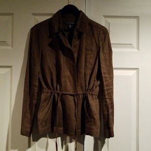 Ellen Tracy Cotton Canvas Zip Front Jacket
